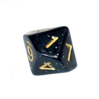 Kostka - K10 brokatowa - cyfry - czarna